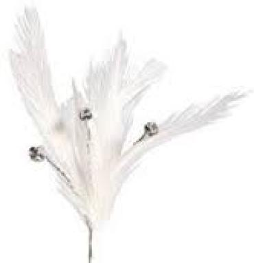 White Feather Spray With 3 Rhinestones