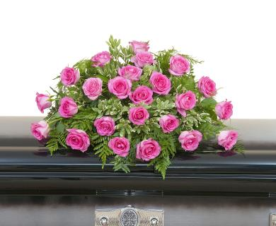 Pink Rose Casket Spray - Half