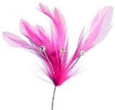 Flamingo Feather Spray With 3 Rhinestones